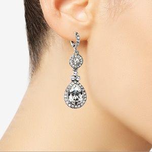 GIVENCHY Silver Tone Swarovski Earrings